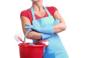 A cleaning Woman holding a Bucket